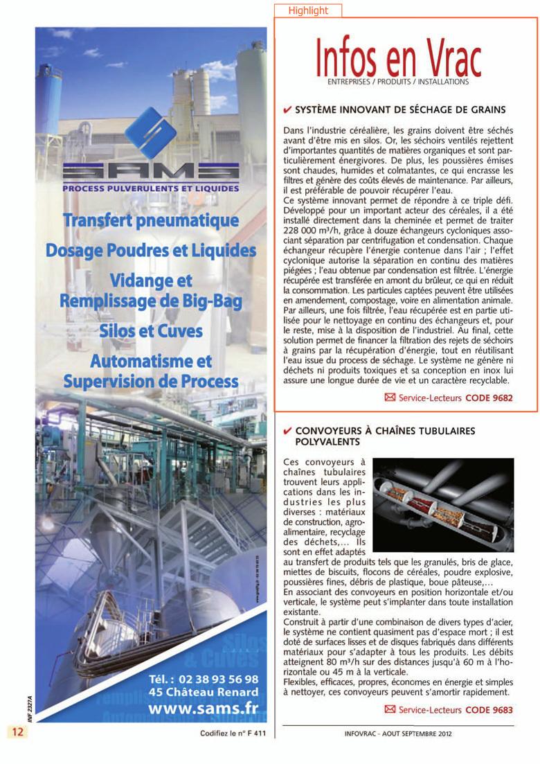 Système innovant de séchage de grains – INFOVRAC - N°184 - Août / Septembre 2012 - page 12